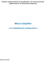 Rapport Mandon - Mieux simplifier « La simplification collaborative »