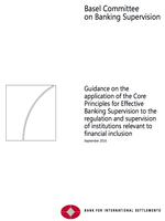 Guidance on the application of the Core Principles for Effective Banking Supervision to the regulation and supervision of institutions relevant to financial inclusion